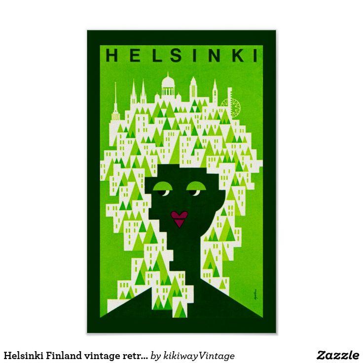 Helsinki Finland vintage retro travel poster