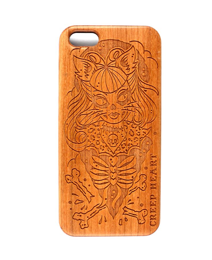 Psycho Kitten Wood Phone Case for iPhone 5/5s.  Available online from the Creep Heart store (www.creepheart.com.au).   Artwork by Ella Mobbs.   Laser etching by Vector Etch (http://www.vectoretch.com.au/).