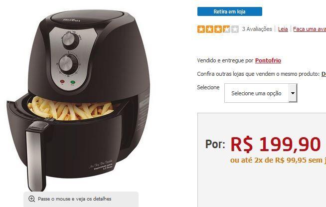Fritadeira sem Óleo Britânia Air Fry Pro Saúde - Preta << R$ 19990 em 2 vezes >>