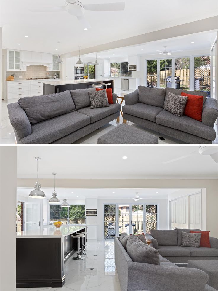 Wide open living spaces! A modern family room with loads of natural light. The perfect family home renovation by Smith & Sons. <3