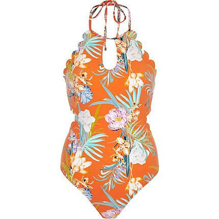 Orange floral scallop halter neck swimsuit $70.00