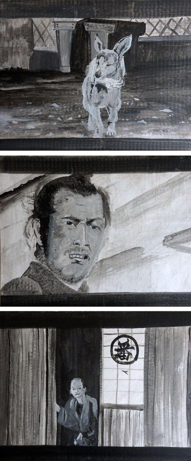 "Illustration of 1961 film ""Yojimbo"" by Mikinoki"