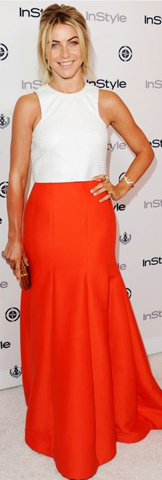 Who made  Julianne Hough's white tank top and orange maxi skirt that she wore on August 14, 2013?