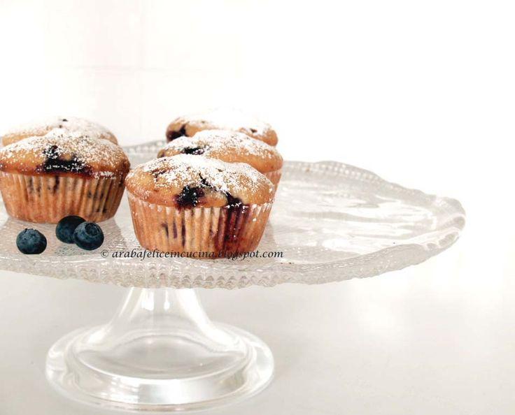 Arabafelice in cucina!: Muffins (surgelabili!) al limone, mandorle e mirtilli