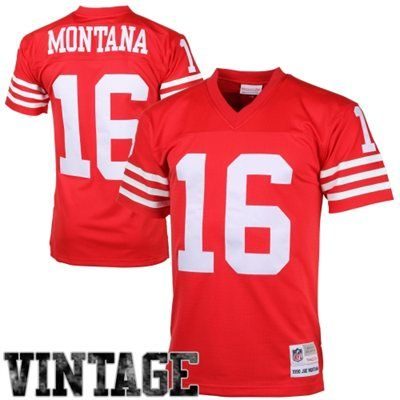 Mens San Francisco 49ers Joe Montana Mitchell & Ness Scarlet Retired Player Vintage Replica Jersey