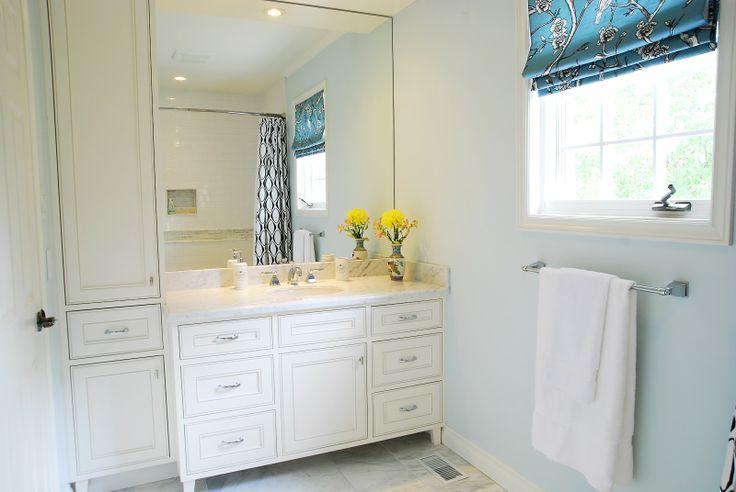 Linen Closet Next To Vanity, Mirror To Ceiling, Pot Lights