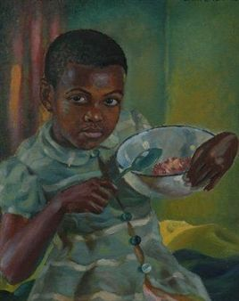 YOUNG GIRL EATING SAMP By George Pemba ,1946