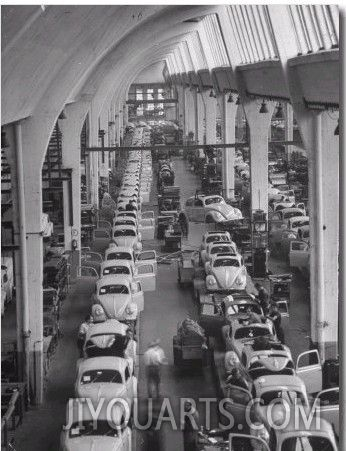 Interior View of Volkswagen Plant, Showing Assembly Lines, Walter Sanders, Oil Painting Reproduction,Handmade,Gallery,ArtMaine Plants, Interiors View, Vw Beetles, Vintage, Volkswagen Plants, Assembly, July 1951, Walter Sander, Volkswagen Maine