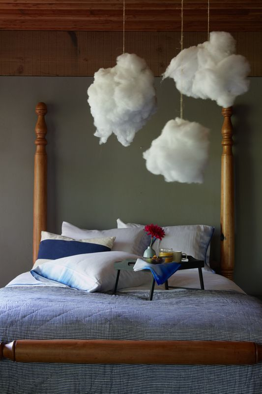 """@Julia PaoneAll you need to do is rip open an old pillow that has polyester Take a piece of twine and tie it around a clump of pillow fill. Use your fingers to stretch the fill into the shape of whatever """"cloud"""" you want. Use a thumbtack to attach the twine to the ceiling and voila! Clouds."""