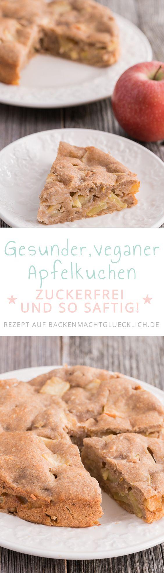 Dieser vegane Apfelkuchen ohne Ei, Butter, Zucker und Milch ist ein toller, gesunder Apfelkuchen für Babys, Kinder und Erwachsene! (Low Carb Bake Cheesecake)