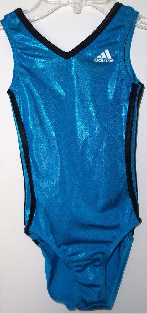 Adidas Blue Black Foil Girls Gymnastics Dance Leotard CM Child Medium M #Adidas