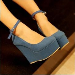 Charming cheap wedges shoes matching style Z-OYL-C89 blue-Lovelyshoes.net