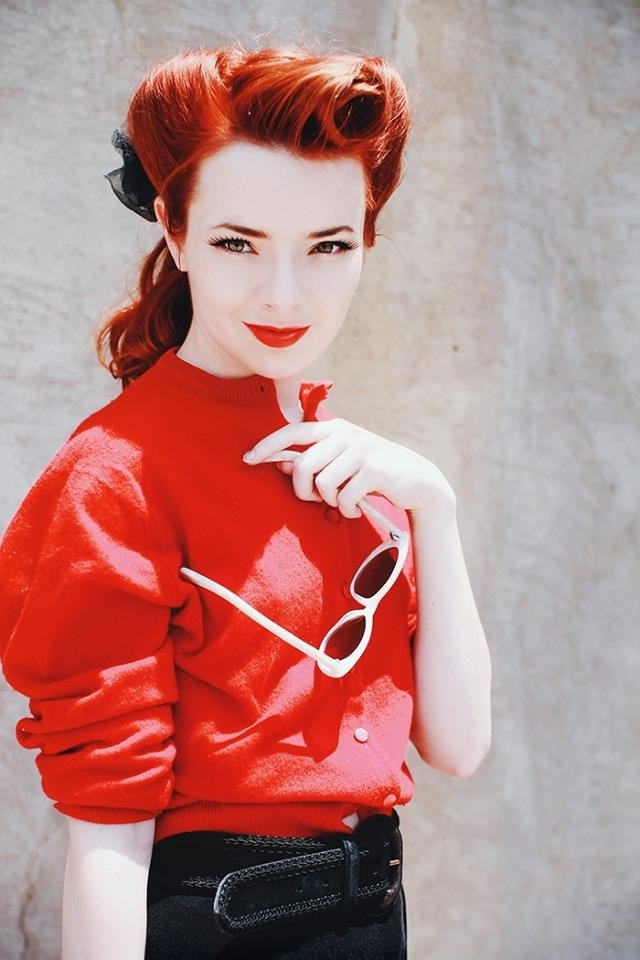 Redhead red dress pin up