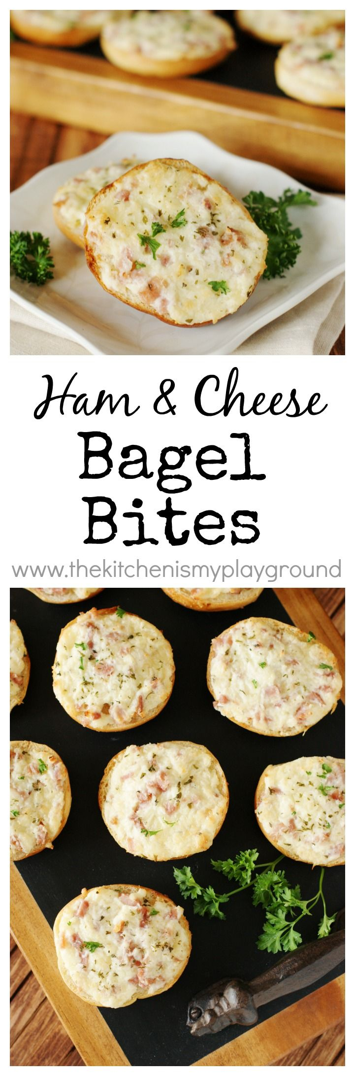 Ham and Cheese Bagel Bites ~ topped with a creamy ham and cheese mixture, these baked bites are perfect for snacking, partying, lunching, and brunching!   www.thekitchenismyplayground.com