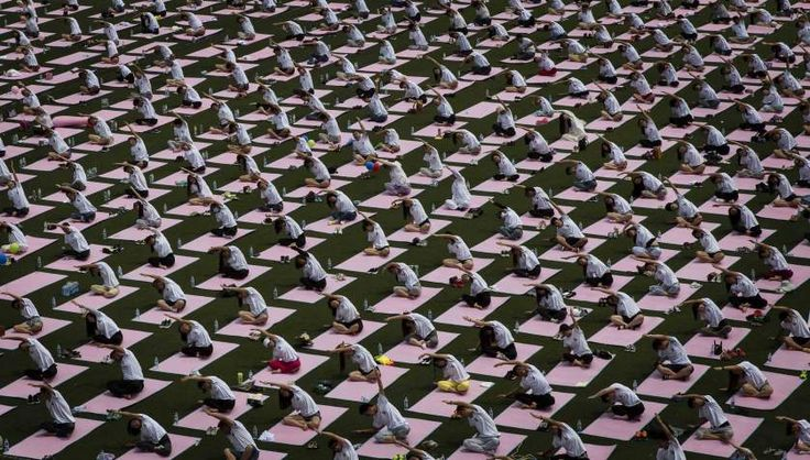 Students from Geely University celebrate the International Day of #Yoga #Beijing June 21, 2015