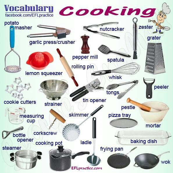 Kitchen Equipment Dictionary ~ Best images about esl beginners cooking and baking