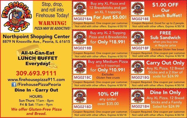Firehouse Pizza coupons in the Northpoint Shopping Center in Peoria, IL