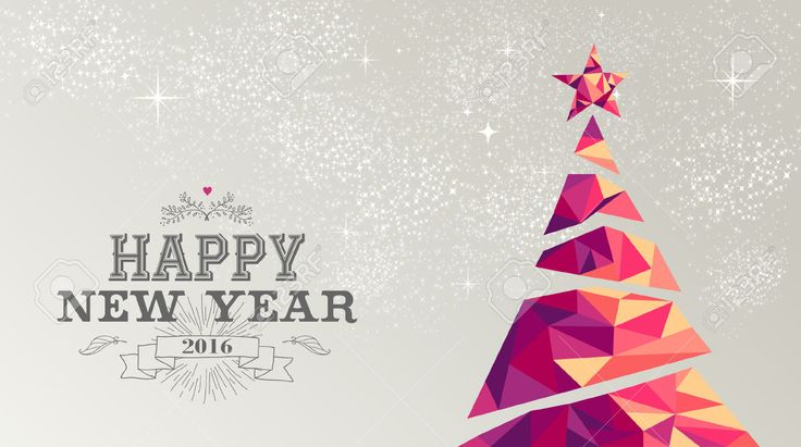 17 best holiday card images on pinterest business holiday cards happy new year 2016 holiday decoration greeting card or poster design with colorful triangle christmas pine tree and vintage label illustration vector reheart Choice Image