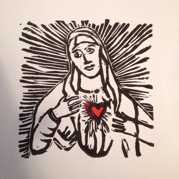 Mary linocut card/ print on Etsy, £2.50