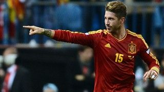 Spain's defender Sergio Ramos celebrates after scoring