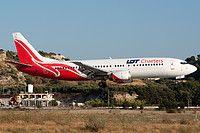 LOT Charters Boeing 737-45D SP-LLG aircraft, on short finals to Greece Rhodes Diagoras International Airport. 23/07/2011.