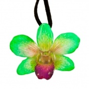 Bright Green-Small Dendrobium Necklace with Brooch Option $30