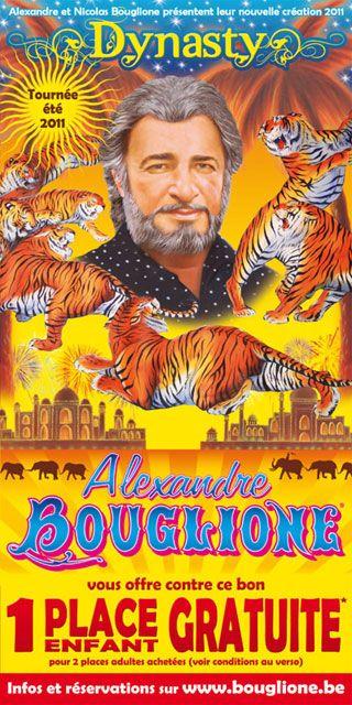 Belgique: le flyer de la tournée d'été 2011 du Cirque Alexandre Bouglione - Dompteur au cirque Amar tournée 1981 - 1982