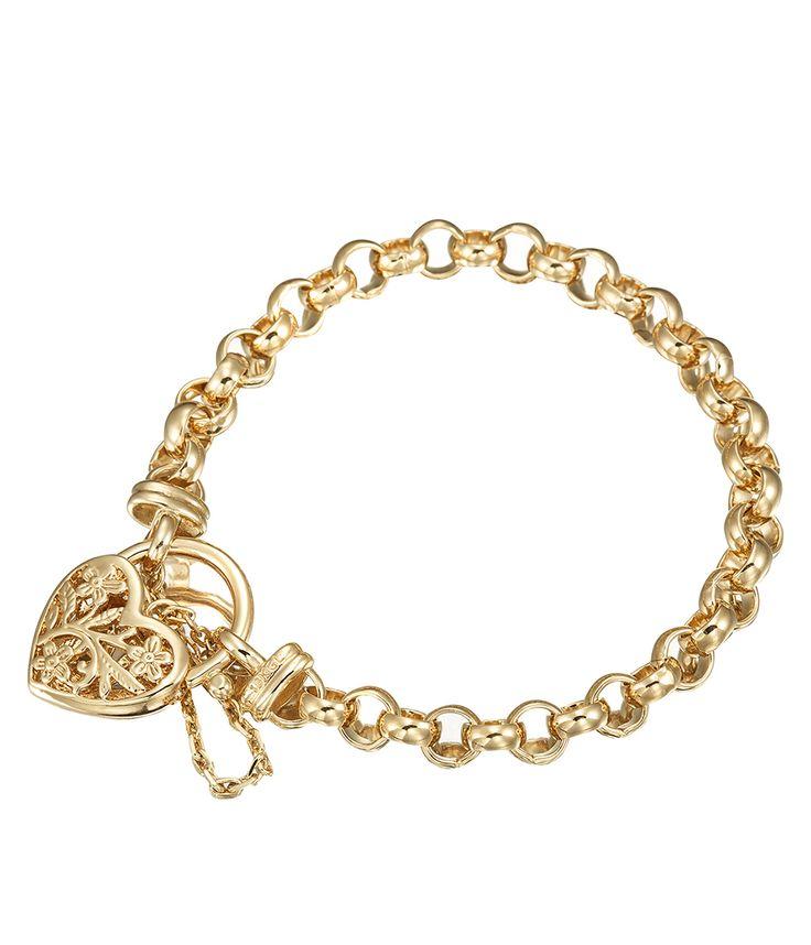 Glamour Gold Filagree Heart Bracelet - BRG0040 - $279 AUD