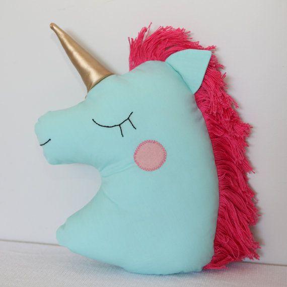 Unicorn Pillow Light Green - decorative pillows , stuffed animals, plush toy, bedroom ideas, horn home decor