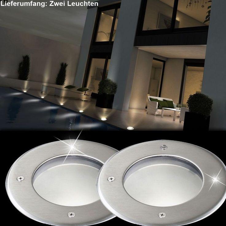 2er Set LED Edelstahl Boden Einbau Strahler Garten Weg Außen Leuchten IP67 Spots