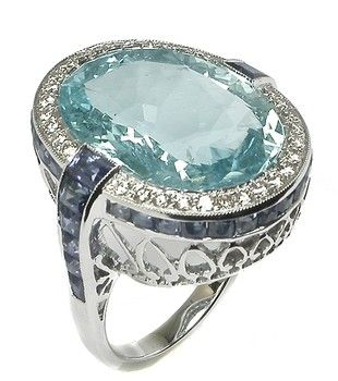 Israel Rose oval aquamarine, sapphire diamond, white gold ring