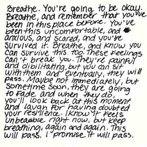 """Love this quote about anxiety attacks! I don't have them often but when I do all I think over and over is """"just breathe"""""""