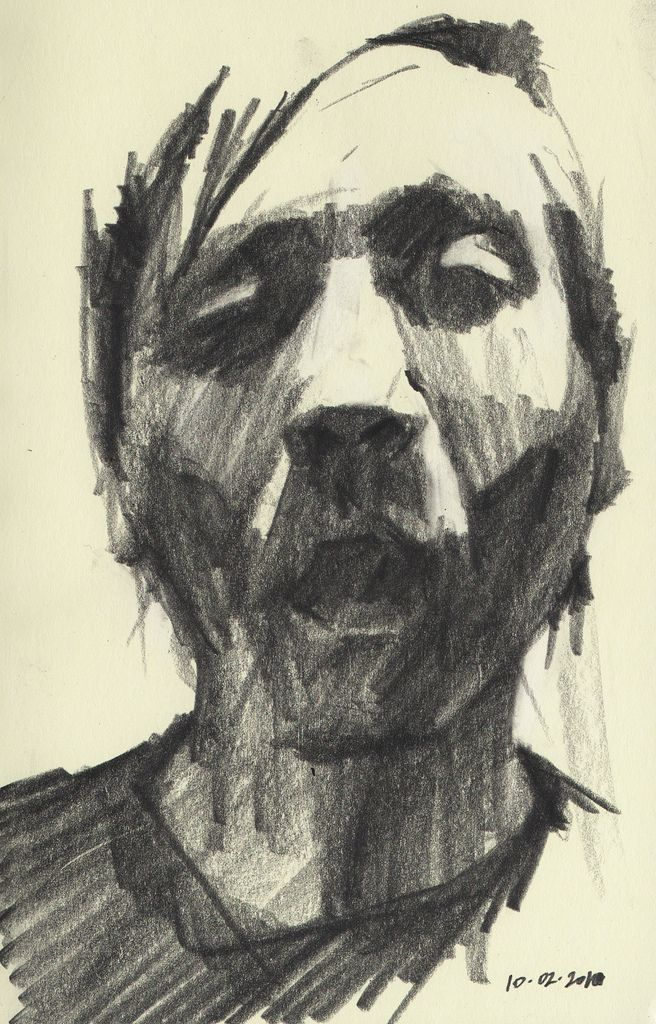 https://flic.kr/p/8FVwuo | Mike Creighton: Self-portrait Sketch 3 | Drawn in my moleskine outside of The Globe while sipping on some wine.