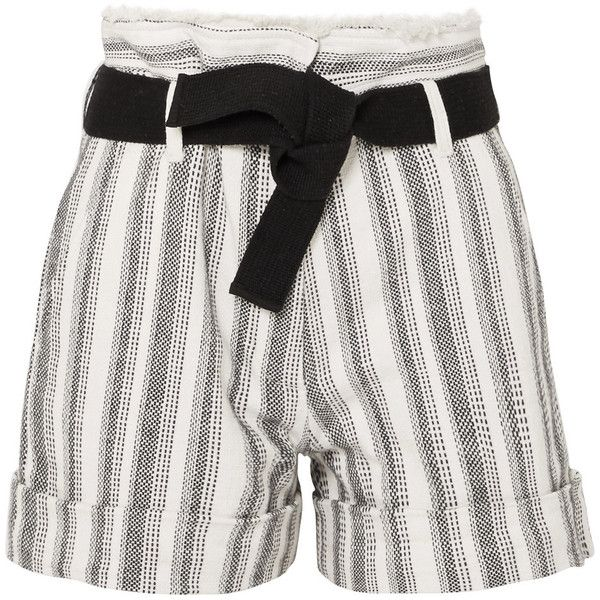 Vanessa Bruno Ezed belted striped cotton-canvas shorts ($185) ❤ liked on Polyvore featuring shorts, white, vanessa bruno, white frayed shorts, belted shorts, white braided belt and white woven belt