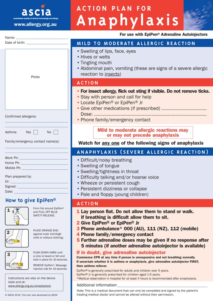 EpiPen® (personal) Action Plan A4 - Allergy & Anaphylaxis Australia