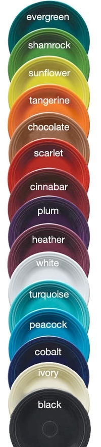 Fiesta ware - I have cobalt, cinnabar, white, rose & periwinkle for different place settings.