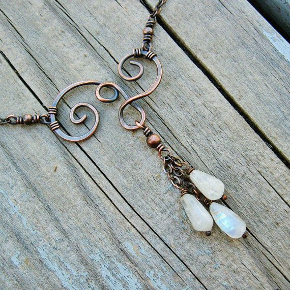 Moonstones and Antiqued Copper Swirled wire wrapped necklace by BearRunOriginals on Etsy