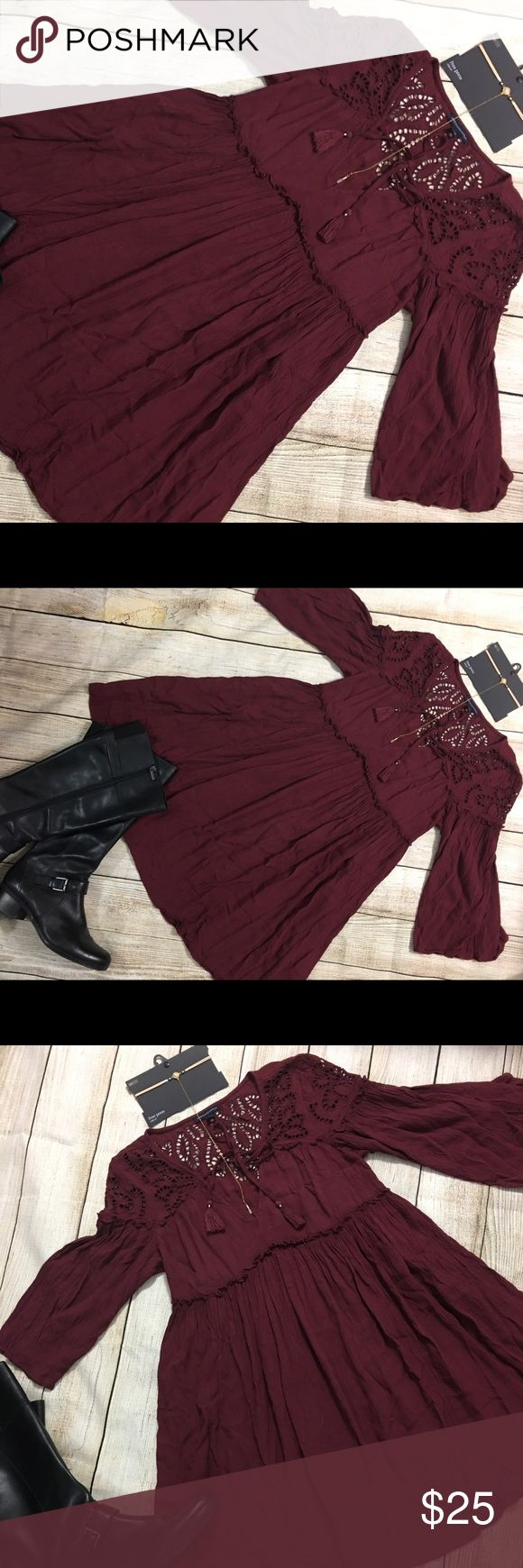 """Ladies American Eagle 🦅  Boho Dress Large EUC 🍂Great Fall Color Boho Style Dress from American Eagle 🦅 EUC Looks New! Chest measures 19"""" across and 34"""" In Length. Tassel ties at neck , elastic waist , very flowy . Looks great with leggings and boots . Make an offer🍂 American Eagle Outfitters Dresses Long Sleeve"""