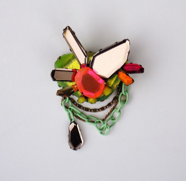 nikki couppee; brooch; plexiglass, brass, fine silver. interesting.