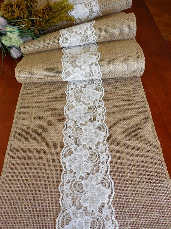 EXTRA LONG Burlap table runner wedding table by DaniellesCorner