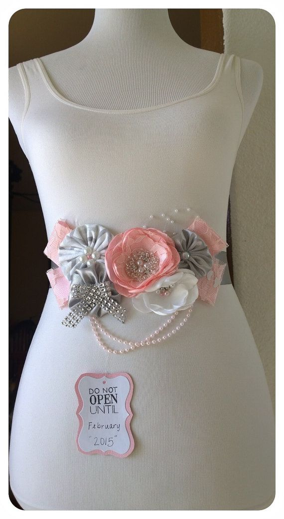Do Not Open Pink & Grey Maternity Sash  by BridalBlingNBowtique $39.95