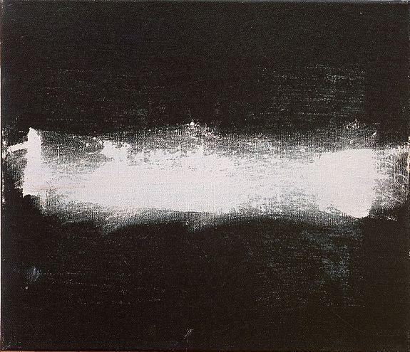 Raoul De Keyser Solitair, 1990. Acrylverf, krijt, olieverf op doek. 27,5 x 31,5 cm
