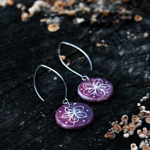 Ceramic jewelry ceramic earrings - colorful jewelry, floral motif, purple flower by Brekszer on Etsy