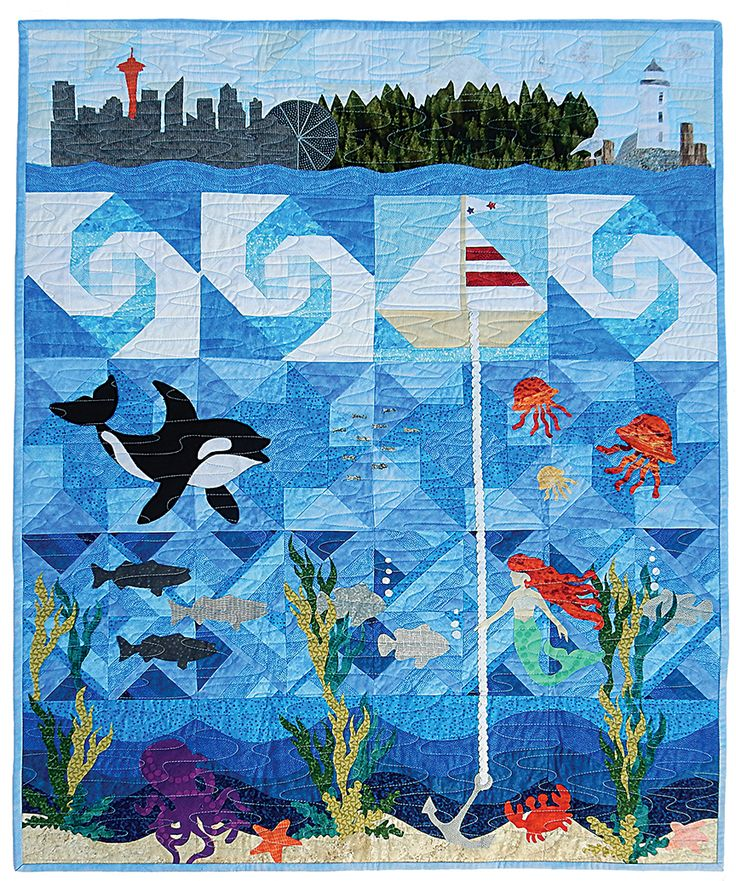 Pacific Fabrics Row by Row - A row each from their five Seattle-area shops; Everett Northgate, Bellevue, SoDo, and Bremerton;  designed to work together as this gorgeous quilt and tribute to the PNW!