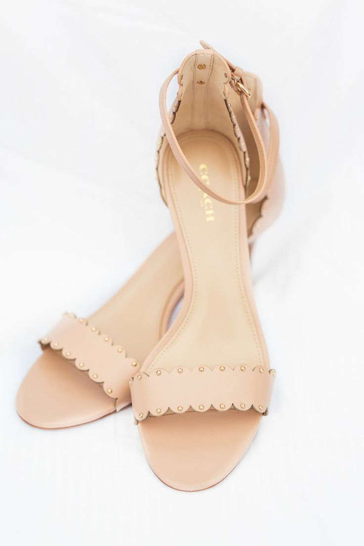 Nude sandals, wedding shoes, scalloped leather, Coach flats // James & Jess