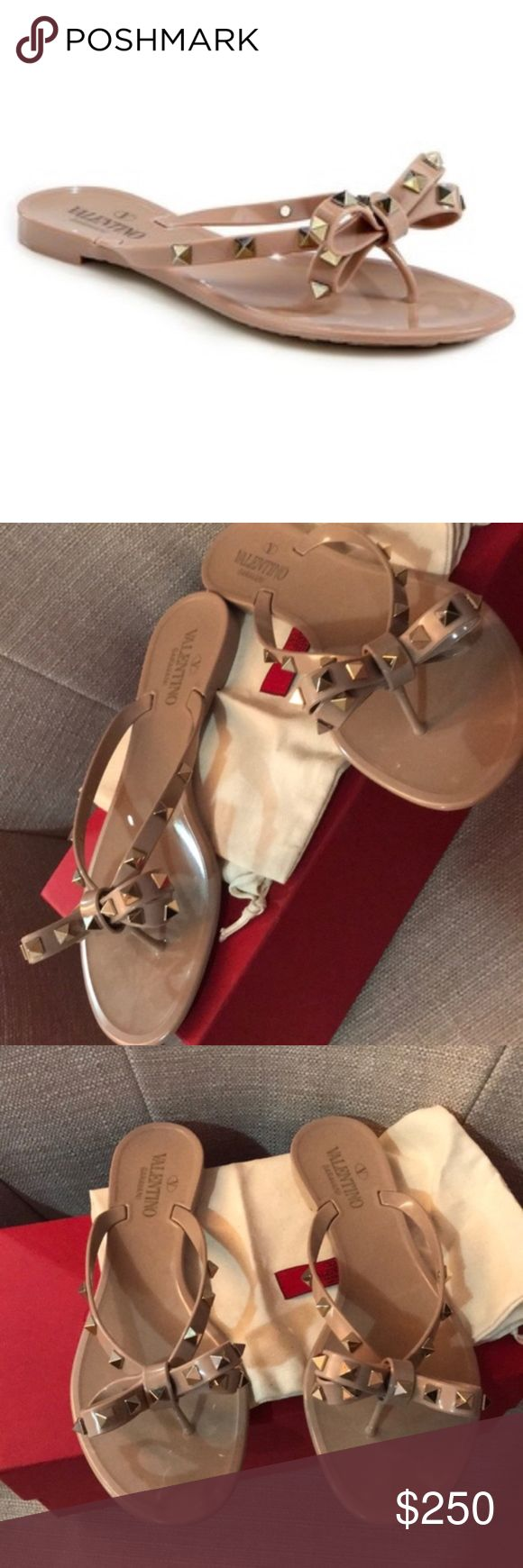 Valentino Rock stud Flip Flops Size 9 Authentic Relisting as I canceled the prior sale. Please do not purchase from my closet if you are unsure of authenticity. I don't have an issue with proving that ALL of my items are AUTHENTIC, but I would like a stress free transaction. size 40 but runs small. NO signs of wear. comes with box, extra studs, and dust bag. proof of authenticity of the shoes shown via online since they were purchased online. Any questions, please feel free to ask! Valentino…