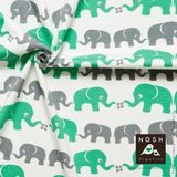 Organic cotton Jersey Elephants Sharp Green/ Gray
