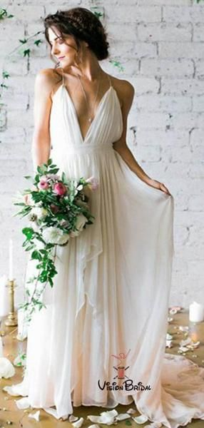 Simple Spaghetti Straps Long A-Line Chiffon Wedding Dresses, Cheap Beach Wedding Dresses, VB02255 #wedding #weddingdresses #weddingdresses2019 #weddingdresseslace