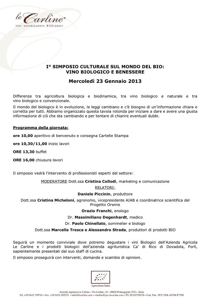 Il programma del #Simposio.  Organizzazione a cura dello #Studio #Francescon & #Collodi.