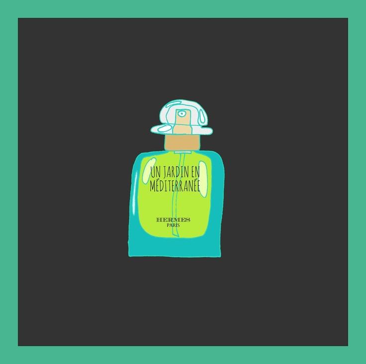 #illustration #parfume #dark #blue #green #hermes  UN JARDIN EN MEDITERRANEE HERMES / by Taki Trik